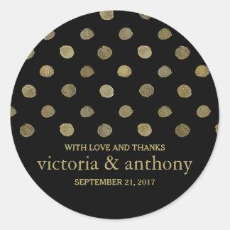 Pois moderne de noir et d'or épousant le Merci Sticker Rond