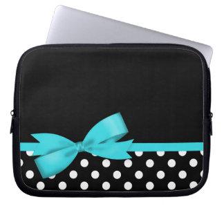 Pois noir et blanc d'arc bleu turquoise trousses pour ordinateur portable