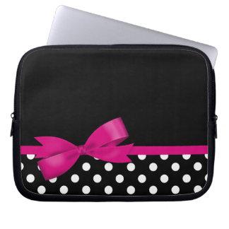 Pois noir et blanc d'arc rose trousse pour ordinateur portable