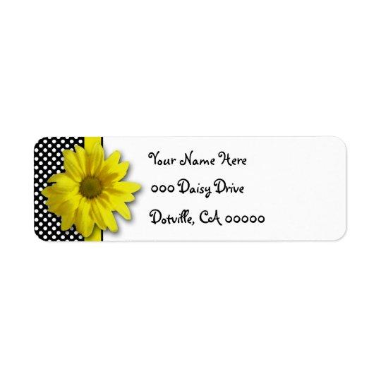 Pois noir et blanc de marguerite jaune étiquette d'adresse retour