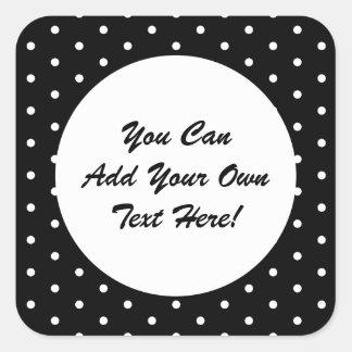 Pois noir et blanc de rétro style rétro sticker carré