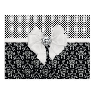 Pois noir et blanc élégant vintage de damassé carte postale