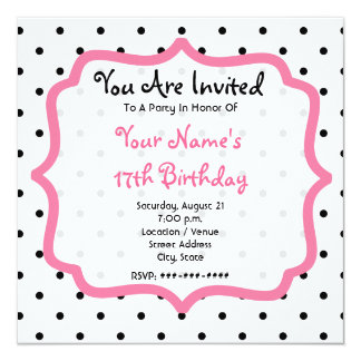 Pois noir et fête d'anniversaire rose de petit carton d'invitation  13,33 cm