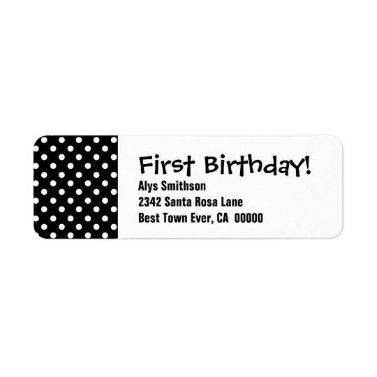 Pois noir LA18 de premier anniversaire Étiquette D'adresse Retour