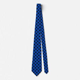 Pois noir sur le bleu royal cravate