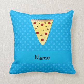 Pois nommé personnalisé de bleu de pizza coussin