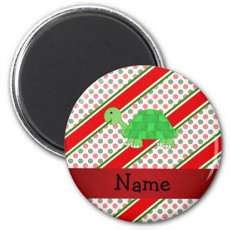 Pois nommé personnalisé de Noël de tortue Aimant