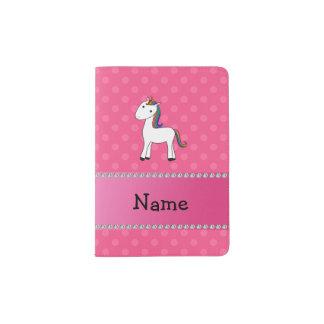 Pois nommé personnalisé de rose de licorne protège-passeports