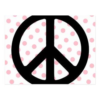 Pois rose avec le symbole de paix noir cartes postales