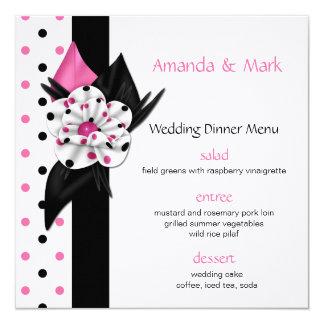 Pois rose et noir épousant le menu carton d'invitation  13,33 cm