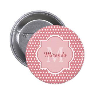 Pois rose mignon avec le monogramme Girly avec le Badge Rond 5 Cm