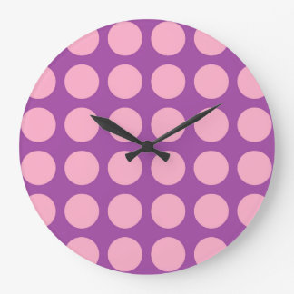 Pois rose pourpre grande horloge ronde