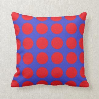 Pois rouge bleu coussin