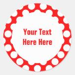 Pois sur le modèle rouge des textes autocollant rond