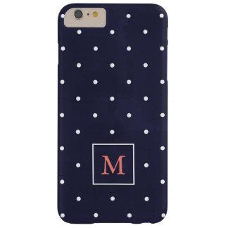 Pois sur le monogramme de corail profond du bleu | coque iPhone 6 plus barely there