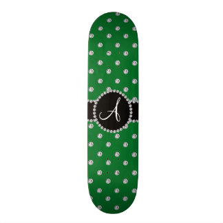 Pois vert de diamants de monogramme planches à roulettes customisées