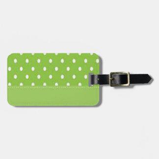 Pois vert et blanc étiquette à bagage