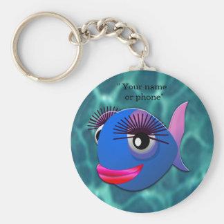 Poisson bleu stylisé porte-clé rond