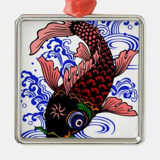 Poisson japonais ornement carré argenté