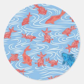 Poisson rouge et carpe japonais sticker rond