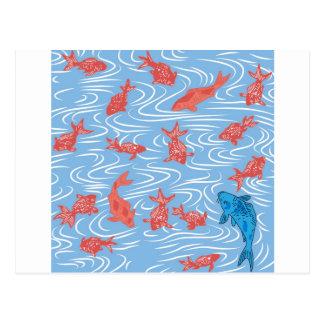 Poisson rouge et carpe japonais carte postale