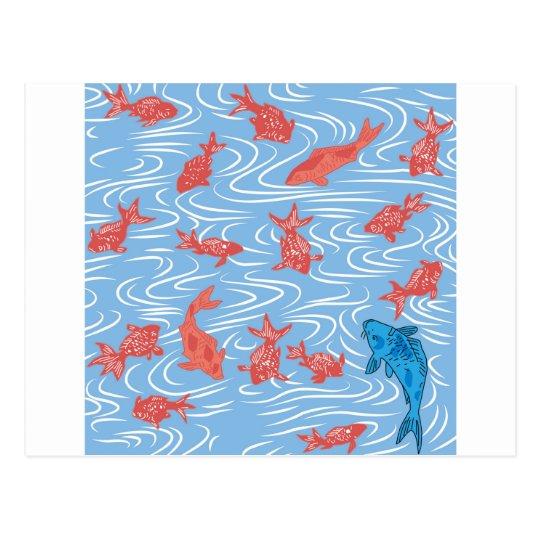 Poisson rouge et carpe japonais carte postale zazzle for Poisson rouge japonais