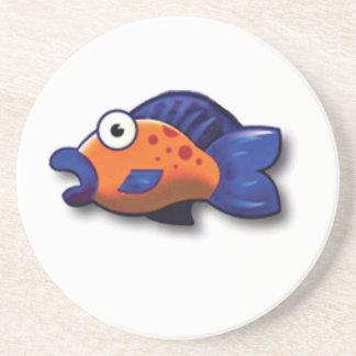 poissons bleus oranges dessous de verre
