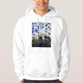 Poissons cailloux et de chat bleus et blancs veste à capuche