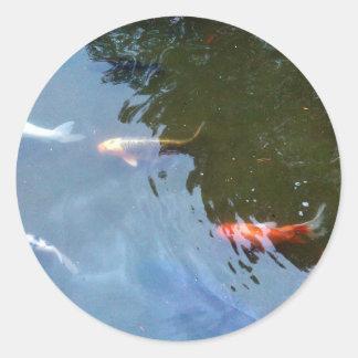 Poissons, carpe de Koi dans l'étang Sticker Rond