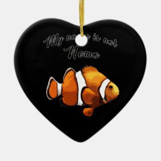 Poissons de clown ornement cœur en céramique