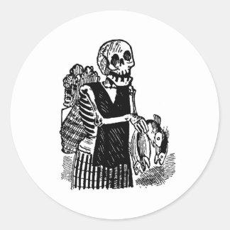 """""""Poissons de transport squelettiques"""" circa 1900's Autocollants Ronds"""