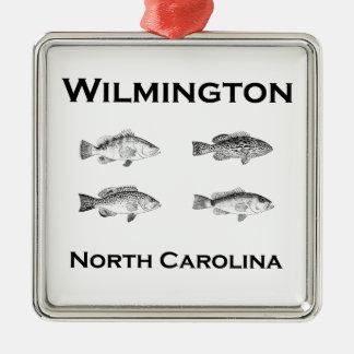 Poissons de Wilmington la Caroline du Nord (mérou) Ornement Carré Argenté