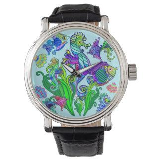 Poissons et hippocampes exotiques d'espèce marine montres bracelet