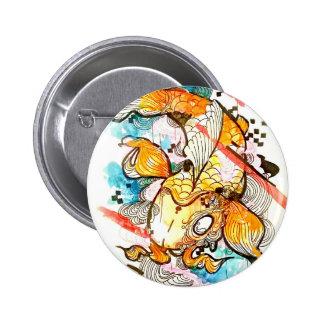 Poissons japonais de koi, art d'aquarelle, art pin's avec agrafe
