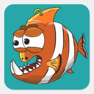 poissons sticker carré