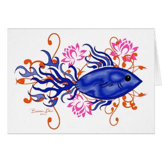 Poissons tribaux bleus cartes de vœux