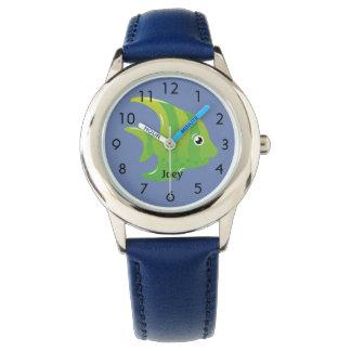 Poissons verts d'ange sur l'enfant personnalisé montres cadran