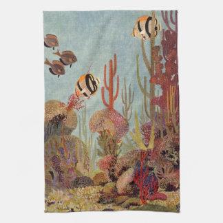 Poissons vintages dans l'océan, scalaire de corail serviette pour les mains