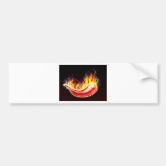 Poivre de piments rouges chaud flamboyant autocollant de voiture