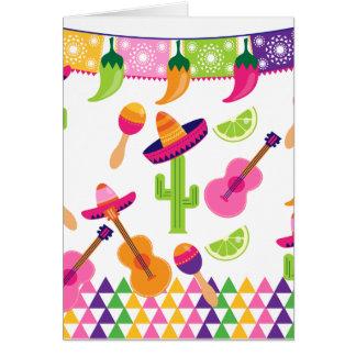 Poivrons mexicains de chaux de Saguaro de sombrero Carte De Vœux
