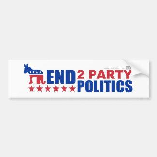 Politique de partis de la fin deux autocollant de voiture
