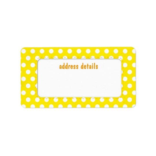 Polkadot jaune étiquette d'adresse