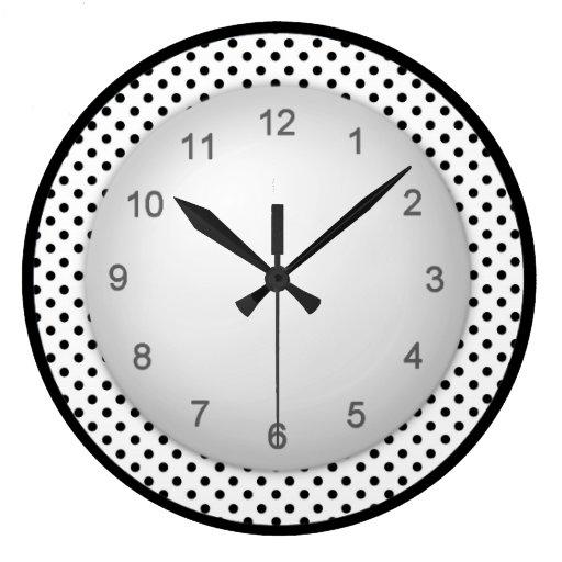 polkadot moderne noir et blanc grande horloge ronde zazzle. Black Bedroom Furniture Sets. Home Design Ideas