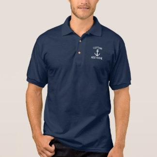 Polo nommé d'ancre de marine de capitaine fait sur polo