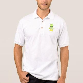 Polo vert jaune de crâne de bowling et de goupille de