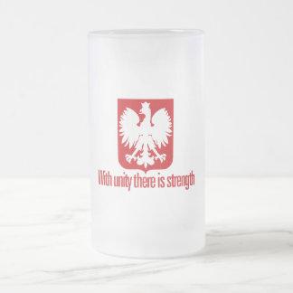 Pologne-Avec la force d'unité Frosted Glass Beer Mug