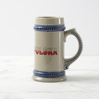 Polska dans des couleurs polonaises de drapeau chope à bière
