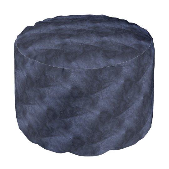 Polyester brossé résistant Round Pouf Effet Denim