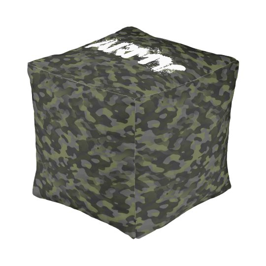 Polyester Cubed Pouf (Petit) Camouflage