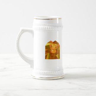 Polygone avant principal de lion bas chope à bière